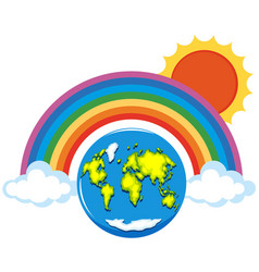 Rainbow over the world vector