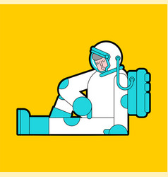 Sad astronaut sitting isolated loneliness in space vector