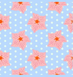 seamless floral pattern with pink mandevilla vector image