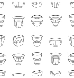 Seamless pattern with flowerpots vector