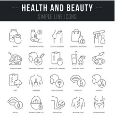 Set linear icons health and beauty vector