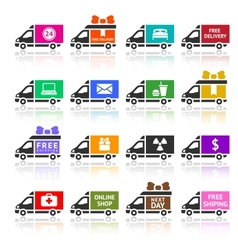 Set of Cargo trucks colored icons vector image
