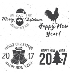 Set of Merry Christmas and Happy New Year 2017 vector