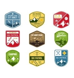 Set of Ski Club Patrol Labels Vintage Mountain vector