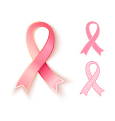 Set pink ribbons vector