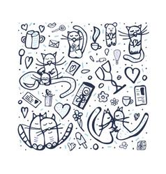 Set with love symbols vector