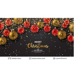 shiny christmas balls and text on dark banner vector image