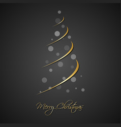 silhouette gold christmas tree with grey balls vector image