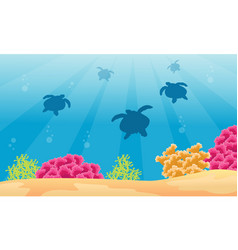 Silhouette of turtle on sea landscape vector