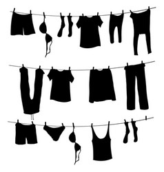 silhouettes laundry on a rope vector image