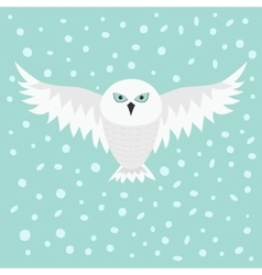 Snowy white owl Flying bird with big wings Blue vector