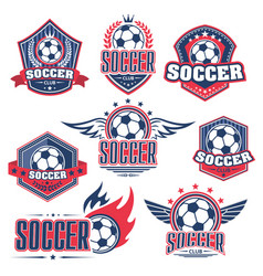 Soccer club football sport game badge with ball vector