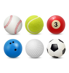 sport equipment realistic balls billiard football vector image