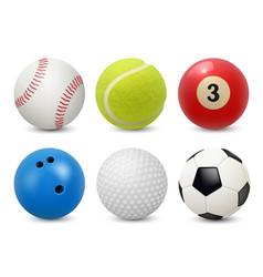 Sport equipment realistic balls billiard football vector