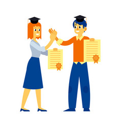 student graduate woman man with diploma vector image