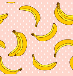 Sweet bananas pattern with polka dots background vector
