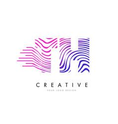 th t h zebra lines letter logo design with vector image
