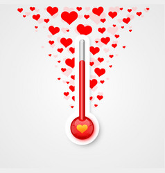 Thermometer love scale with flying vector