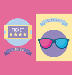 ticket cinema with glasses 3d icon vector image
