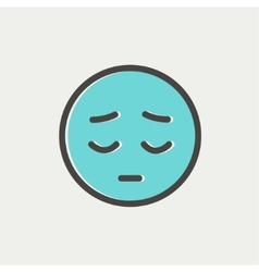 Tired face thin line icon vector image