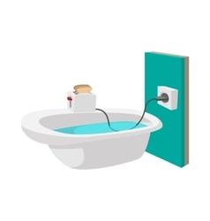 Toaster on edge a bathtub icon vector