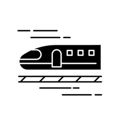 Train black glyph icon high speed shinkansen vector