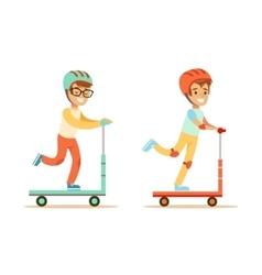 Two Young Boys Riding Scooters In Helmets vector image