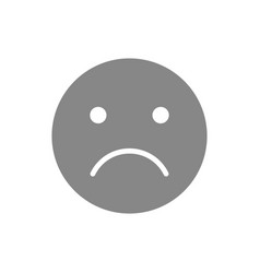 unhappy emoji gray icon upset unsatisfied face vector image