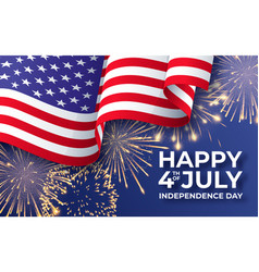 usa independence day banner with waving american vector image