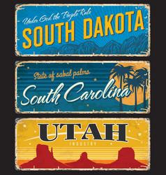utah south dakota and carolina state shabplate vector image