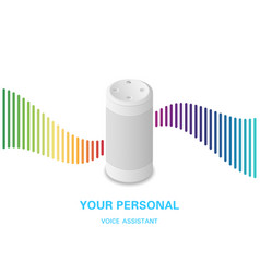 Voice assistant smart speaker with rainbow sound vector