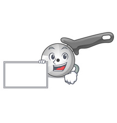 with board pizza cutter knife cartoon for cutting vector image