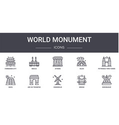 World monument concept line icons set contains vector