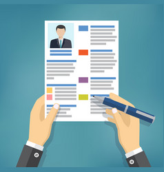 hands of businessman fill a resume vector image vector image