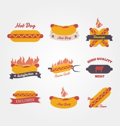 Hot dog flat design vintage label vector image