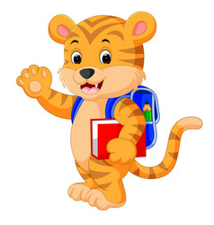little tiger goes to school vector image vector image