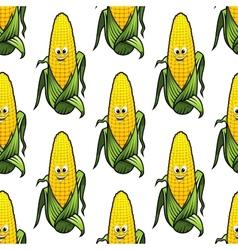 Seamless pattern of cartoon corn on the cob vector image