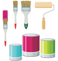 Set Of Brushes And Paints For Walls vector image