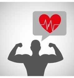 silhouette man bodybuilder heart rate vector image