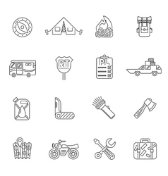 Travel icons set outline style vector