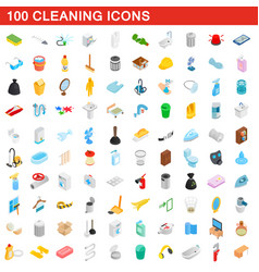 100 cleaning icons set isometric 3d style vector image vector image