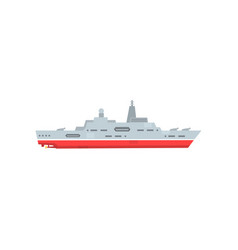 military steam ship with artillery and radar vector image vector image
