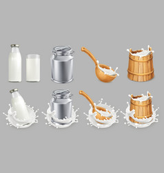 milk can and splash natural dairy products 3d vector image vector image