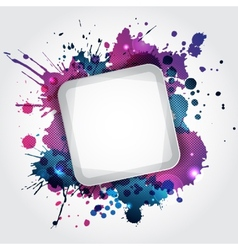 Modern white frame with blue blots vector image