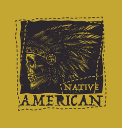 native american vintage typography vector image