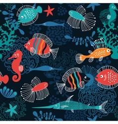 seamless pattern marine life vector image vector image