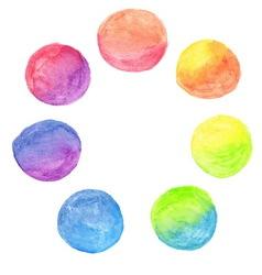set of rainbow watercolor circles vector image