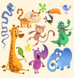 cartoon of tropic wild animals set vector image vector image