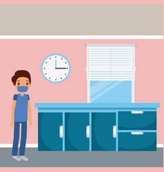 doctor hospital ward furniture drawers clock and vector image