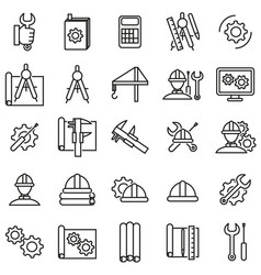 engineering thin line icon set vector image vector image